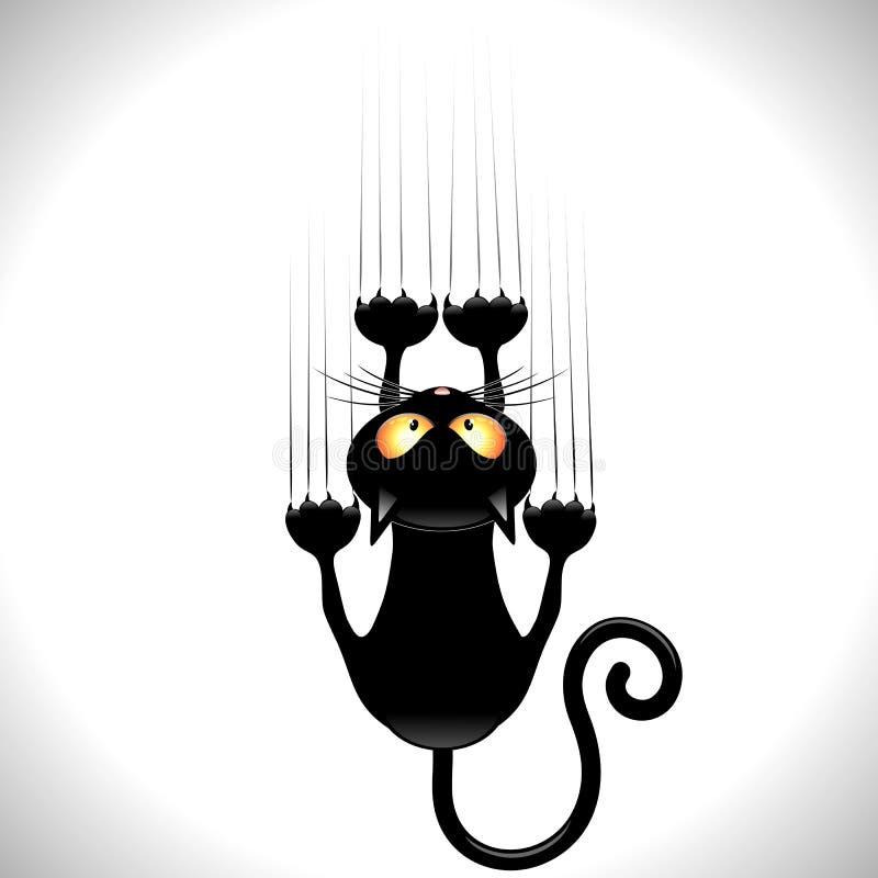 Svarta Cat Scratching Wall stock illustrationer