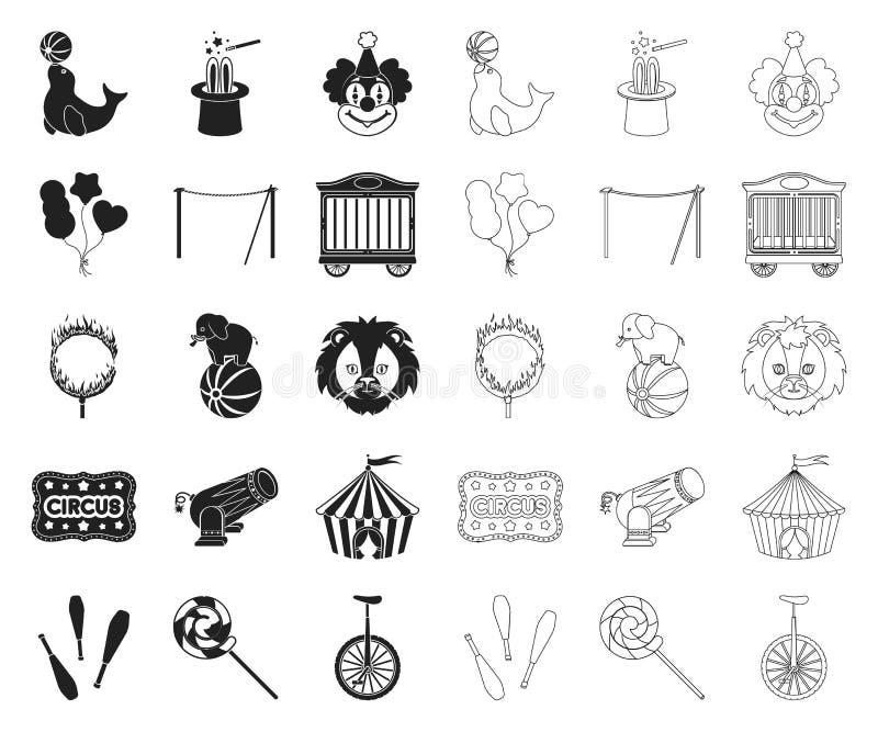 Svarta cirkus och attribut, översiktssymboler i den fastställda samlingen för design Illustration för rengöringsduk för materiel  stock illustrationer