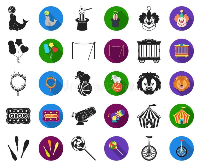 Svarta cirkus och attribut, plana symboler i den fastställda samlingen för design Illustration för rengöringsduk för materiel för royaltyfri illustrationer