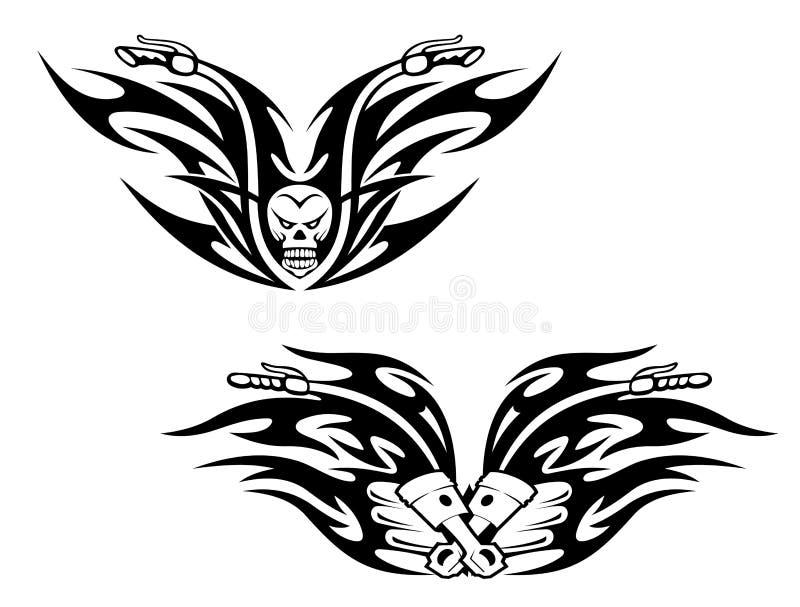 Svarta cykeltatueringar royaltyfri illustrationer