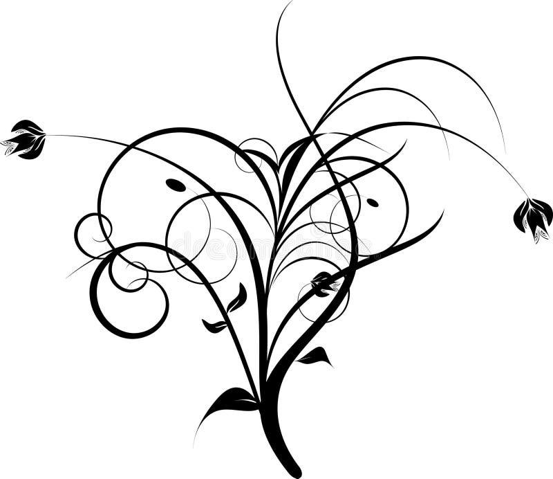 svarta dekorativa blommor vektor illustrationer
