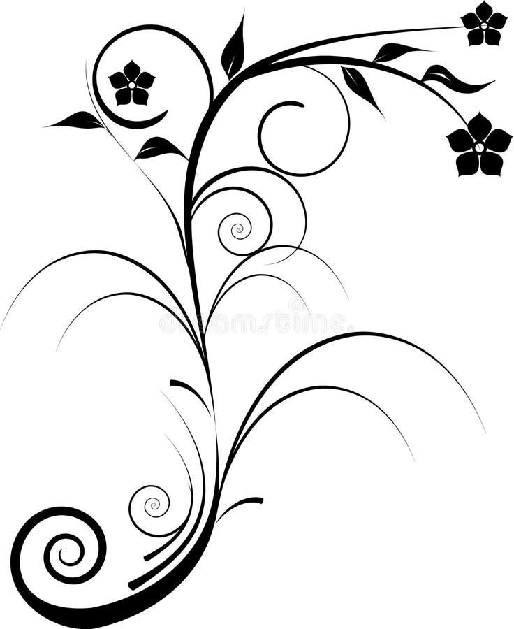 svarta dekorativa blommor mig stock illustrationer