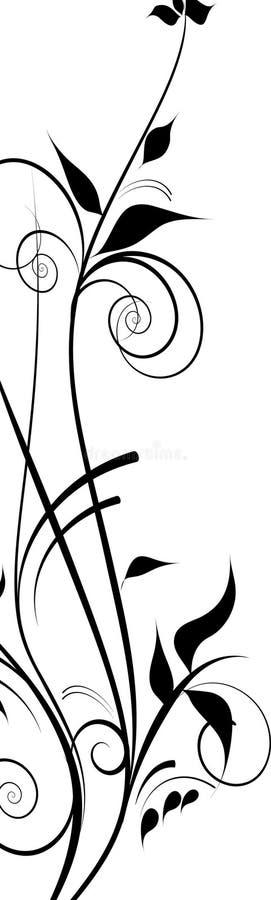 svarta dekorativa designblommor royaltyfri illustrationer