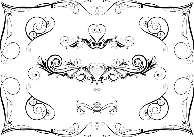 svarta designelement royaltyfri illustrationer