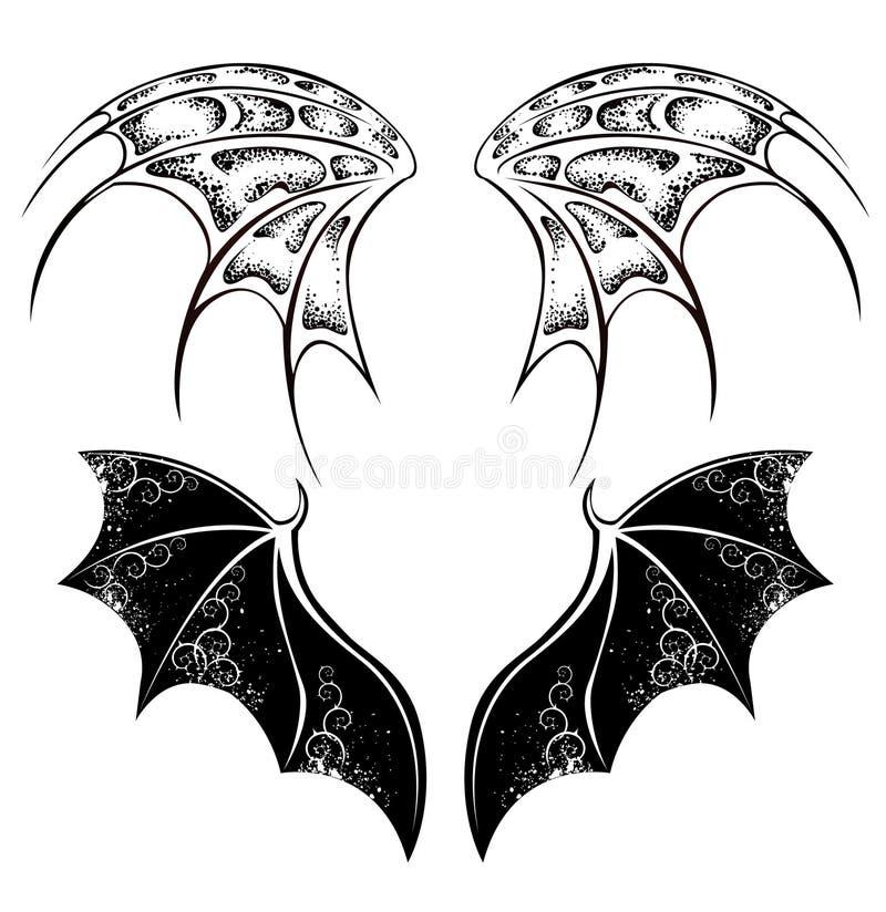 Svarta drakevingar stock illustrationer
