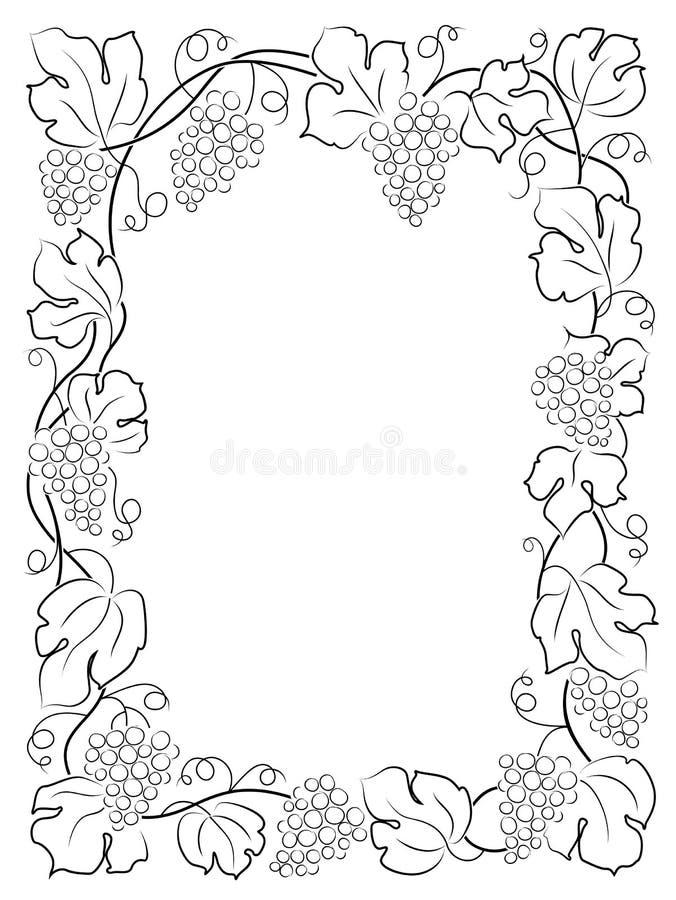 Svarta druvor för vinranka för etikett för kalligrafiramvin vektor illustrationer