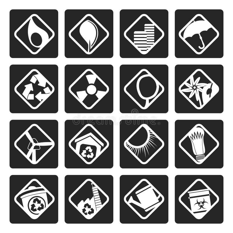 Svarta ekologisymboler - ställ in för rengöringsdukapplikationer royaltyfri illustrationer