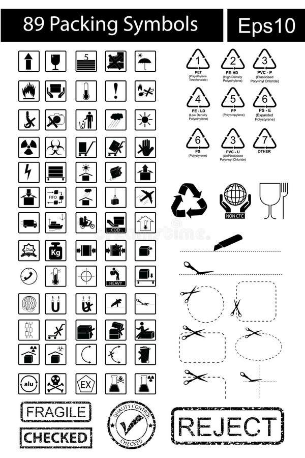 89 svarta emballagesymboler vektor illustrationer