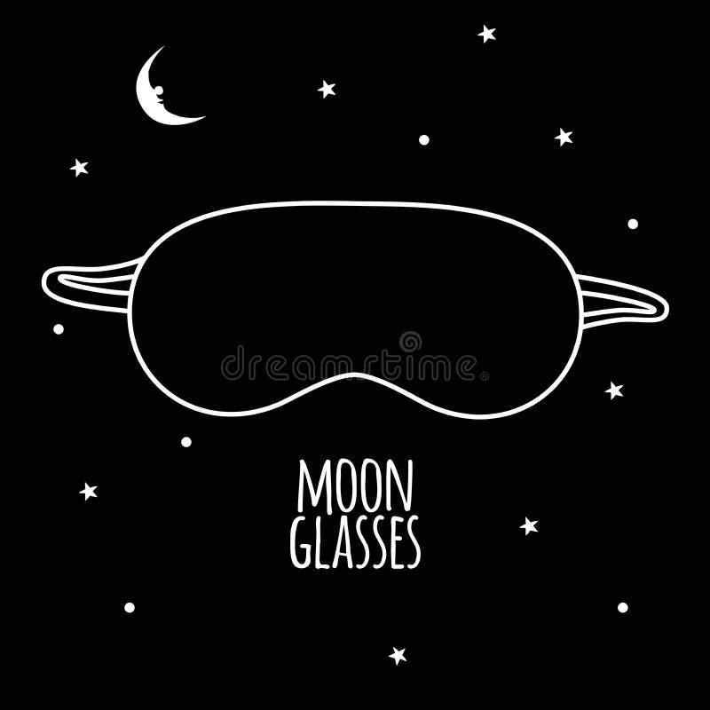 Svarta exponeringsglas från månskenet på en svart bakgrundsvektorillustration arkivfoto