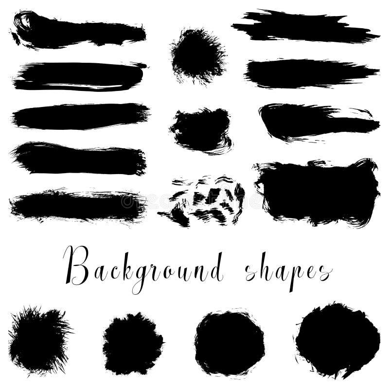 Svarta färgpulvergränser, borsteslaglängder, fläckar, baner, bläckar ner, plaskar royaltyfri illustrationer