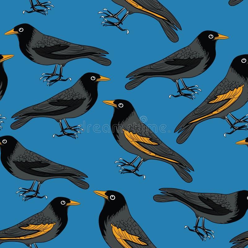 Svarta fåglar med den sömlösa modellen för orange näbb Vektorillustration på blå bakgrund stock illustrationer