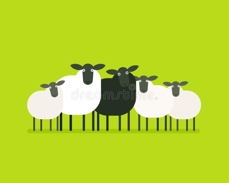 Svarta får i flocken stock illustrationer