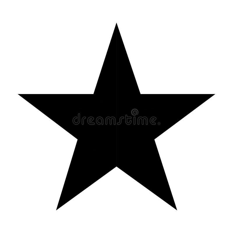 Svarta fem punkter stjärna på vit bakgrund royaltyfri illustrationer