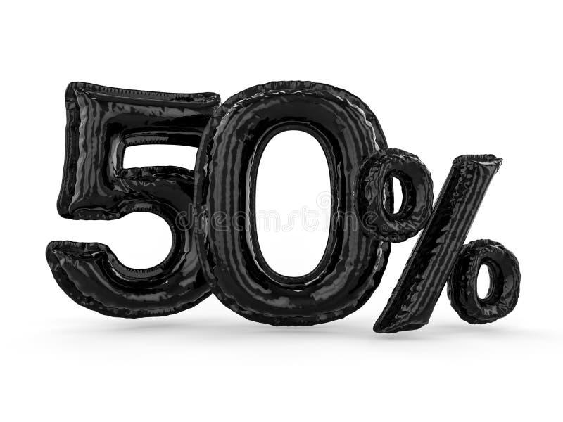 Svarta femtio procent gjorde av uppblåsbara ballonger Procentuppsättning 3d vektor illustrationer