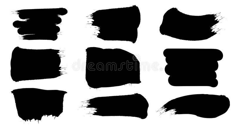 Svarta fläckar för målarfärgborste Abstrakt uppsättning för formgrungefläckar stock illustrationer