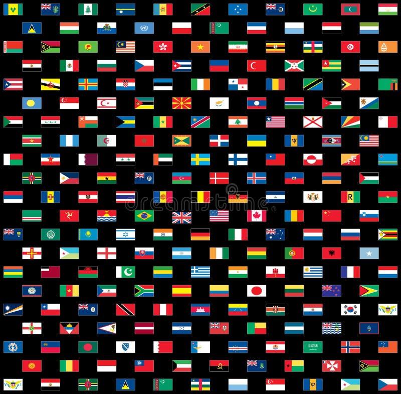svarta flaggor isolerade världen royaltyfri illustrationer