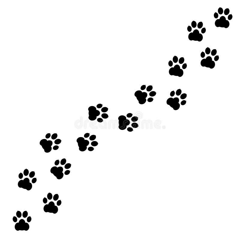 Svarta fotspår av hundkapplöpning Tafsa trycket, djur spårar - vektorn stock illustrationer