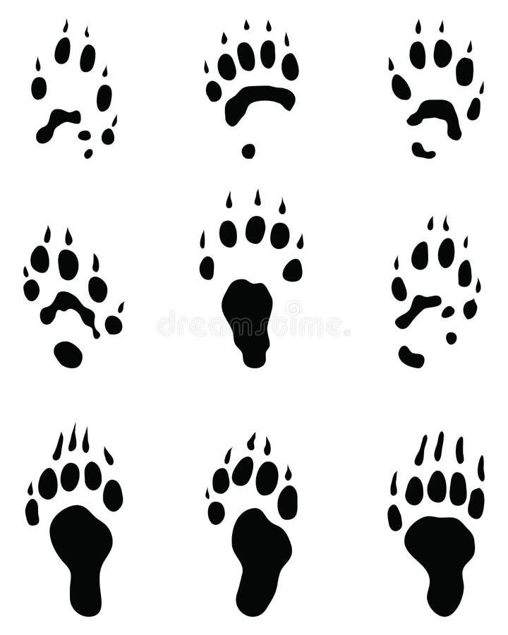 Svarta fotspår av iller stock illustrationer