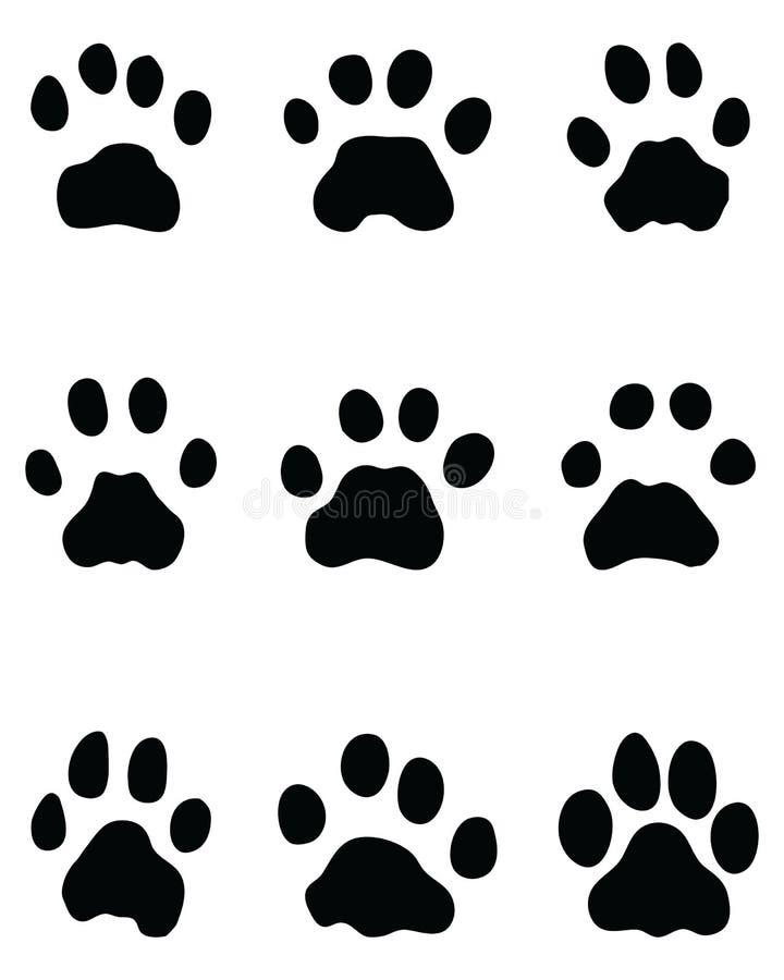 Svarta fotspår av leoparden vektor illustrationer