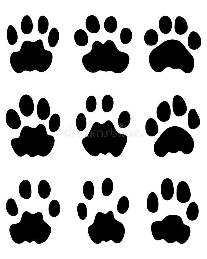 Svarta fotspår av leoparden royaltyfri illustrationer