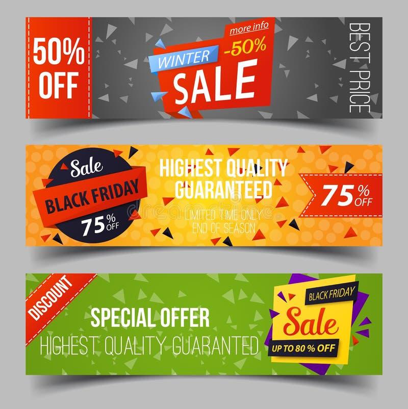 Svarta fredag eller detaljhandelsrea som annonserar etiketter royaltyfri illustrationer