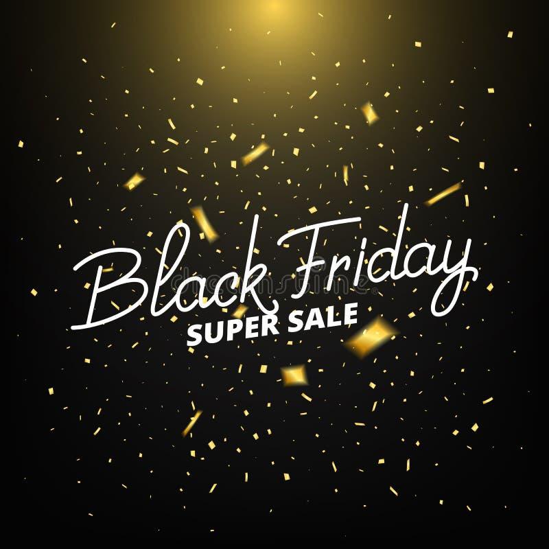 svarta friday Baner med realistiska guld- konfettier Black Friday Sale bakgrund stock illustrationer