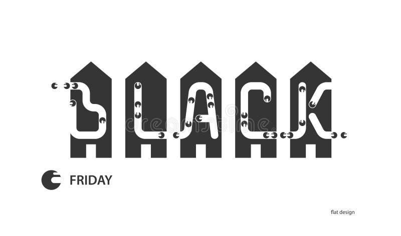 svarta friday vektor illustrationer