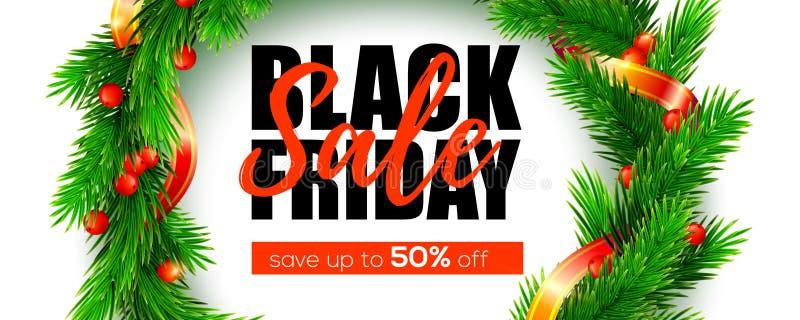 svarta friday Sale räddning upp till femtio procent Julkransen från naturalistiskt sörjer filialer som dekoreras med det röda ban royaltyfri illustrationer