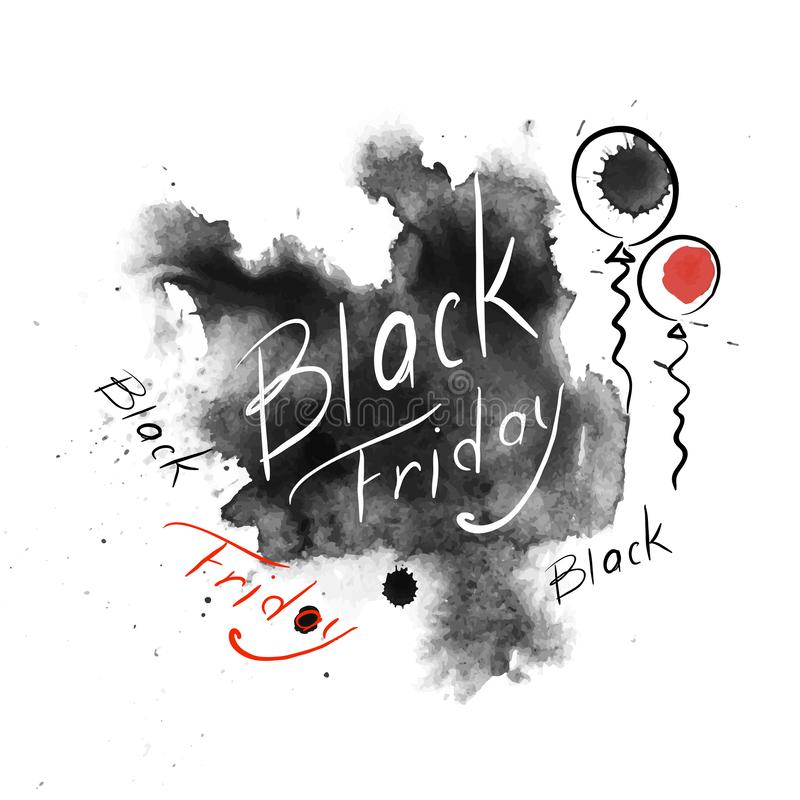 svarta friday symbol Märka vattenfärgvektorillustrarions stock illustrationer