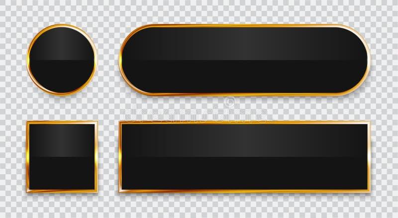 Svarta glansiga knappar med den guld- beståndsdeluppsättningen som isoleras på genomskinlig bakgrund royaltyfri illustrationer