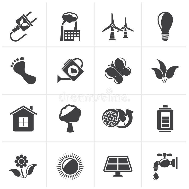 Svarta gräsplan-, ekologi- och miljösymboler royaltyfri illustrationer