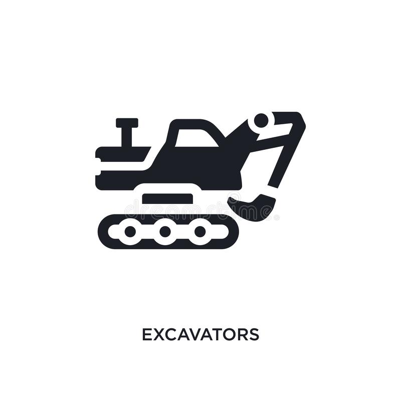 svarta grävskopor isolerad vektorsymbol enkel beståndsdelillustration från symboler för trans.begreppsvektor redigerbara grävskop vektor illustrationer