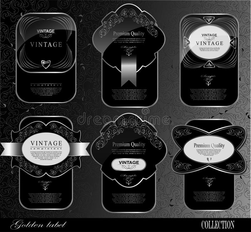 Svarta guldetiketter royaltyfri illustrationer