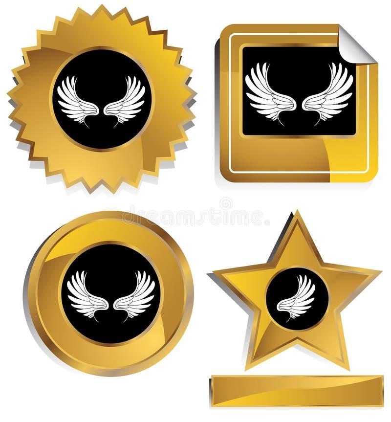 svarta guldvingar royaltyfri illustrationer