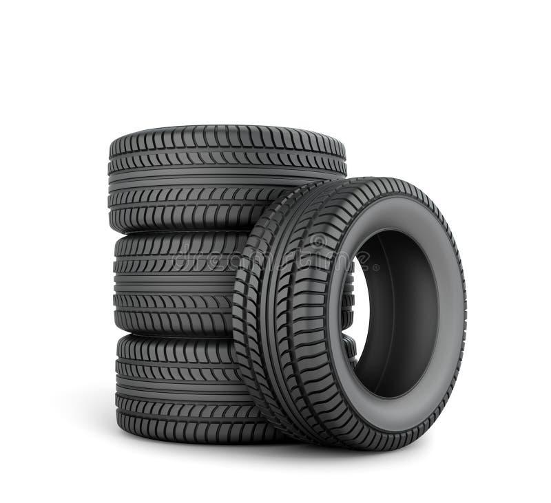 svarta gummihjul stock illustrationer
