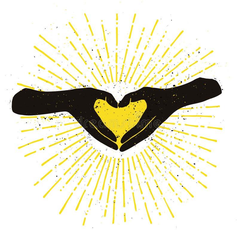 Svarta händer som formar den handdrawn färgillustrationen för gul hjärta royaltyfri illustrationer