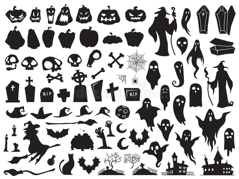 svarta halloween silhouettes white Spöklik ond häxa, kuslig allvarlig kista och trollkarlkontur Pumpa-, spindel- och spökevektor royaltyfri illustrationer