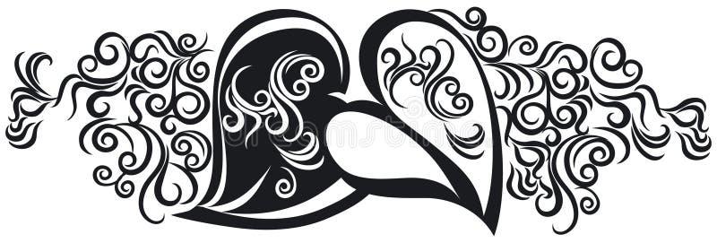 svarta hjärtor vektor illustrationer
