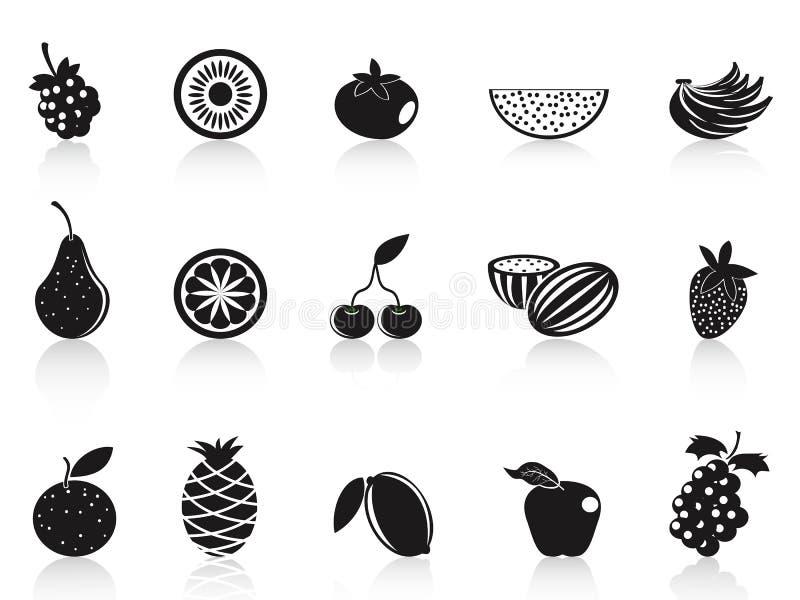 svarta inställda fruktsymboler royaltyfri illustrationer