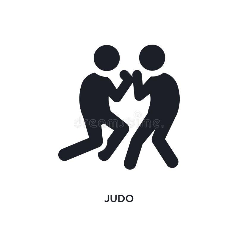 svarta judon isolerad vektorsymbol enkel best?ndsdelillustration fr?n symboler f?r sportbegreppsvektor för logosymbol för judon r royaltyfri illustrationer