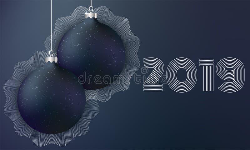 Svarta julbollar på mörk bakgrund stock illustrationer