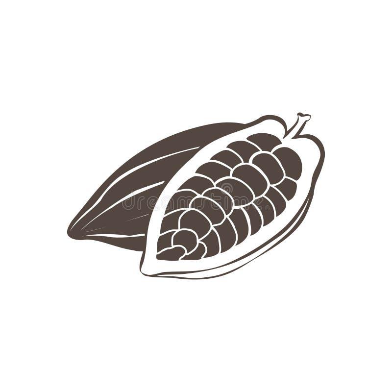 Svarta kakaobönor för vektor på vit bakgrund royaltyfri illustrationer
