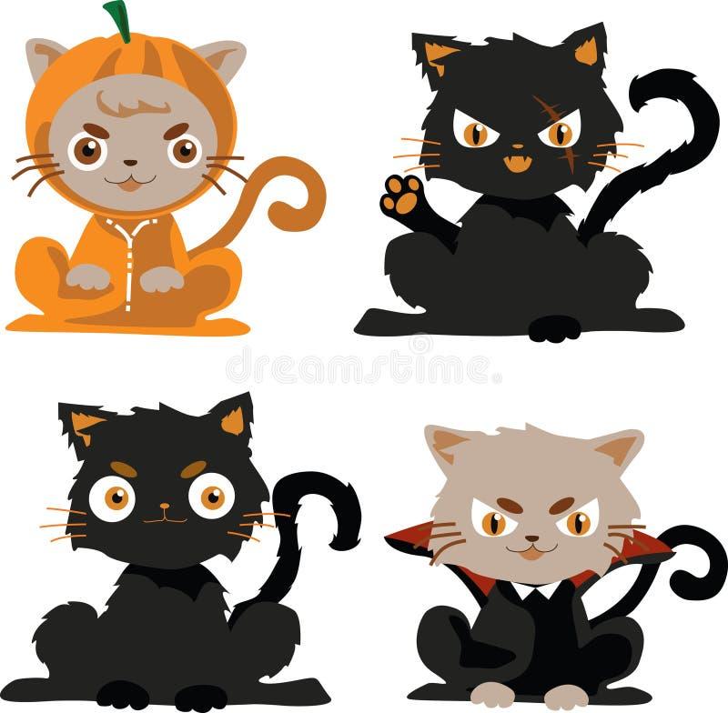 svarta katter i det dräkthalloween teckenet stock illustrationer