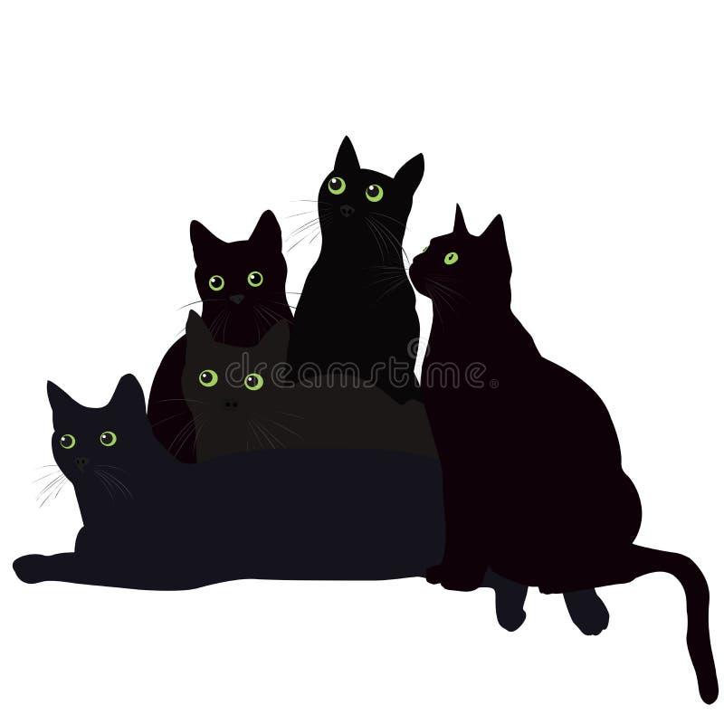 Svarta katter med gröna ögon stock illustrationer