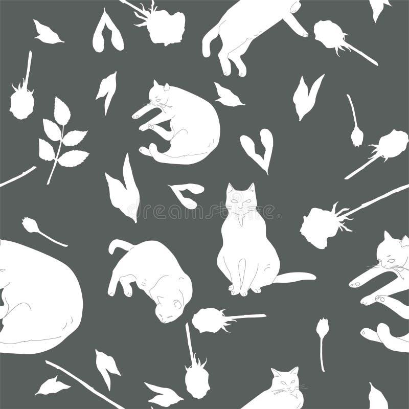 Svarta katter och vita rosor på grå bakgrundsillustration seamless modell vektor illustrationer