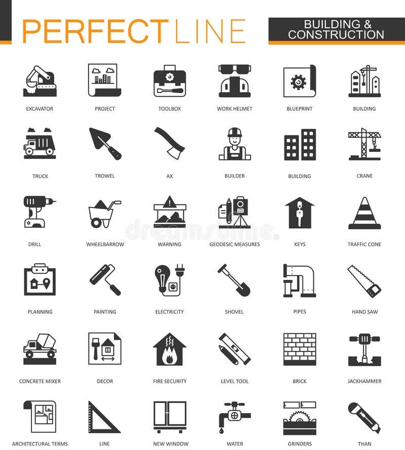 Svarta klassiska symboler för byggnads- och konstruktionshjälpmedelrengöringsduk ställde in Hem- reparationsobjekt vektor illustrationer