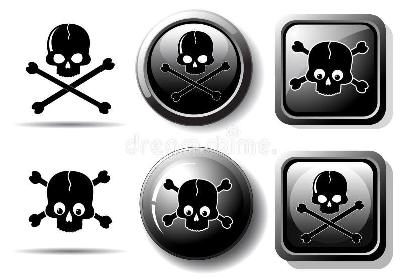 svarta knappar undertecknar skallen stock illustrationer