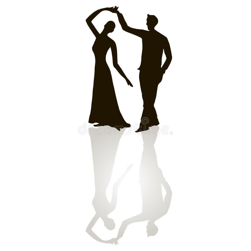 Svarta konturdiagram av den dansmannen och kvinnan på vit, grå färg skuggar, tangodansen stock illustrationer
