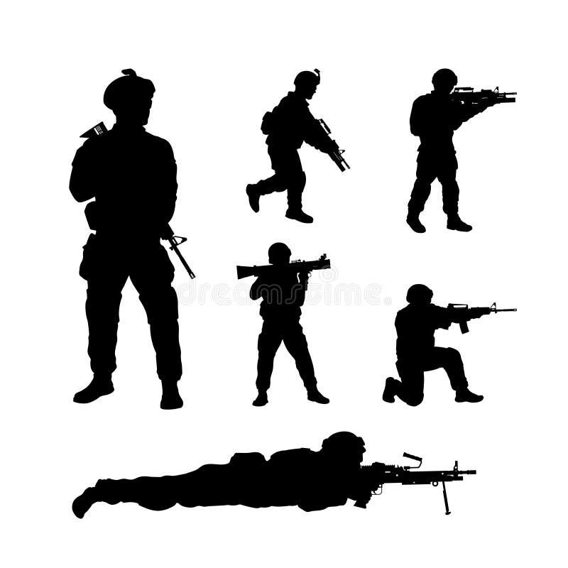 Svarta konturer av amerikanska soldater USA armé Symboler för militära män med vapnet Isolerad krigarebild royaltyfri illustrationer