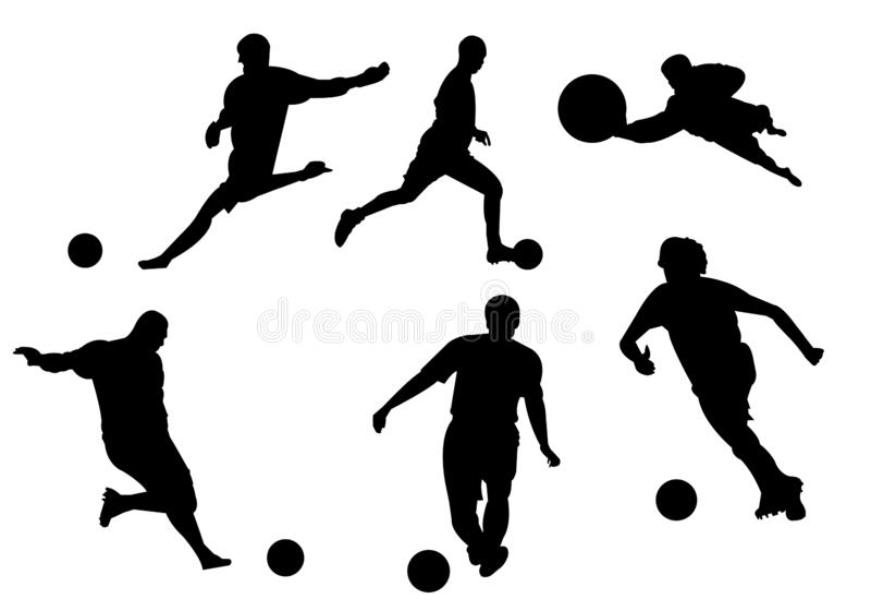 Svarta konturer av fotbollspelare royaltyfri illustrationer